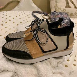 Metallic tennis shoes